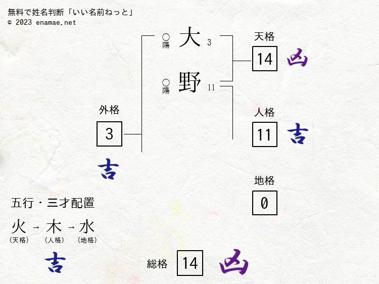 大野寛奈(女性)の診断結果 名...