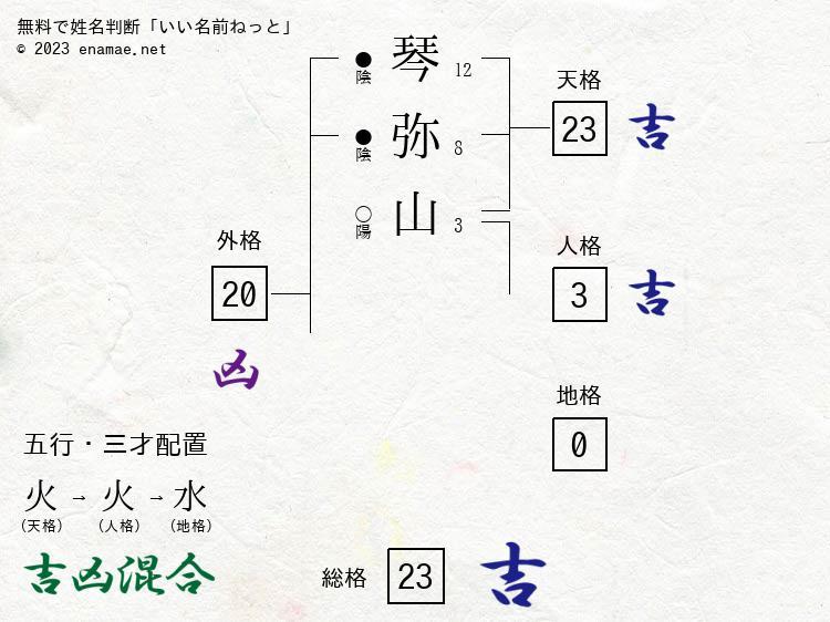 琴弥山幸基(男性)の診断結果|...